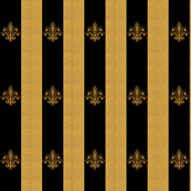 Fleur de Lis on Black w Gold Stripes