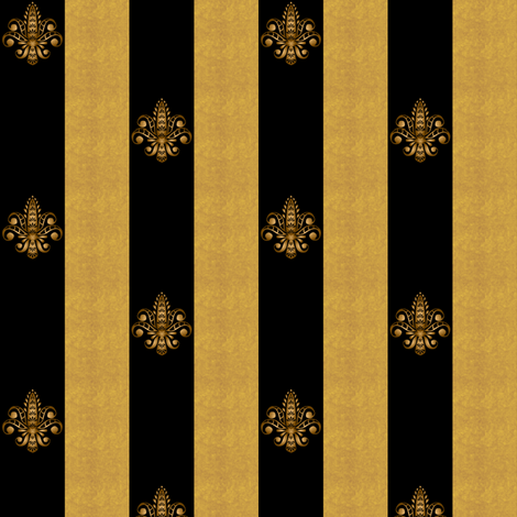 Fleur de Lis on Black w Gold Stripes 1 inch fabric by glimmericks on Spoonflower - custom fabric