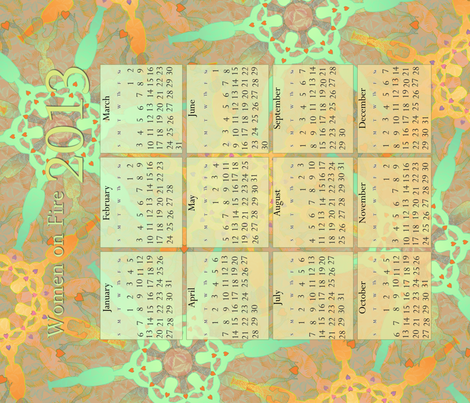 2013_CALENDAR_TOWEL - Women on Fire fabric by glimmericks on Spoonflower - custom fabric