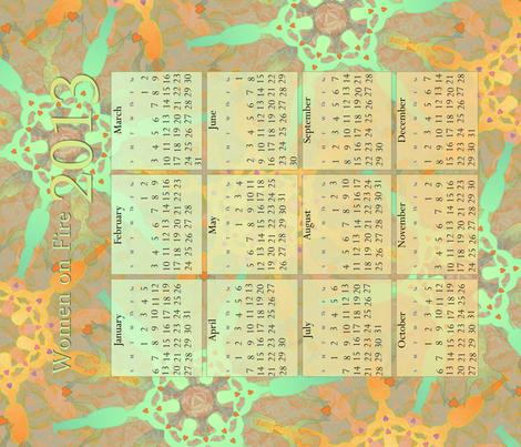 2013_CALENDAR_TOWEL - Women on Fire fabric by glimmericks on Spoonflower - custom fabric
