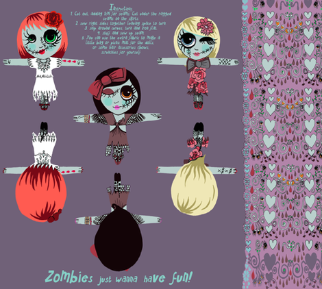 zombies just wanna have fun! fabric by eat_my_sweet_dust on Spoonflower - custom fabric
