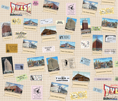 Vintage Tulsa Postcards & Ads fabric by tulsa_gal on Spoonflower - custom fabric