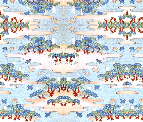 Birds by the water fabric by quinnanya on Spoonflower - custom fabric