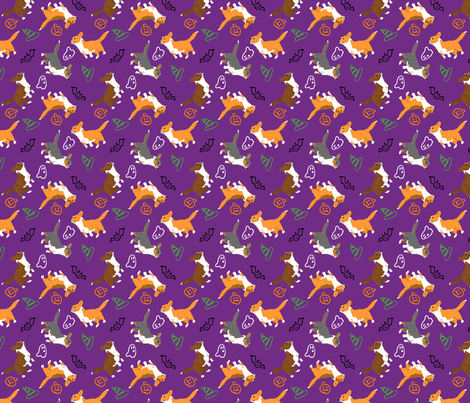 Ditzy seasons - Halloween Cardigans fabric by rusticcorgi on Spoonflower - custom fabric