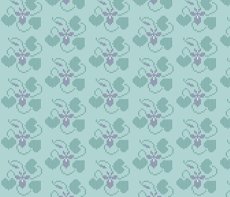Cross-stitch violet embroidery pattern and cheater fabric - look at swatch view to see stitches  fabric by mina on Spoonflower - custom fabric