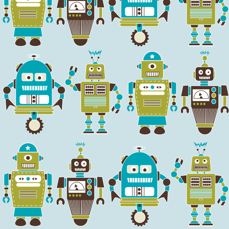 Robot Line Blue fabric by eleasha on Spoonflower - custom fabric
