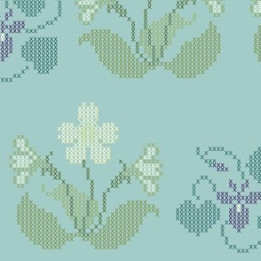 Cross-stitch primrose & violet border embroidery pattern and cheater fabric - look at swatch view to see stitches