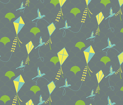 Avian Kite Flyers fabric by wildnotions on Spoonflower - custom fabric