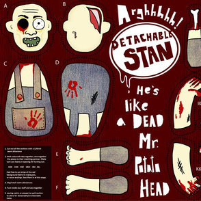 Zombie with detachable part cut and sew doll