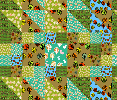 Forest Cheater Quilt fabric by lusyspoon on Spoonflower - custom fabric