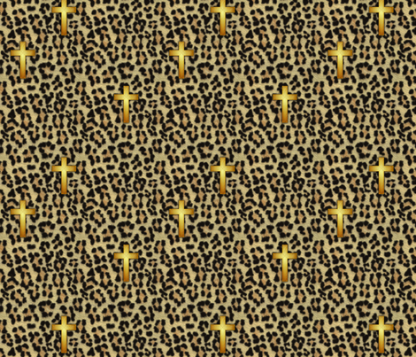 leopard_cross  fabric by glimmericks on Spoonflower - custom fabric
