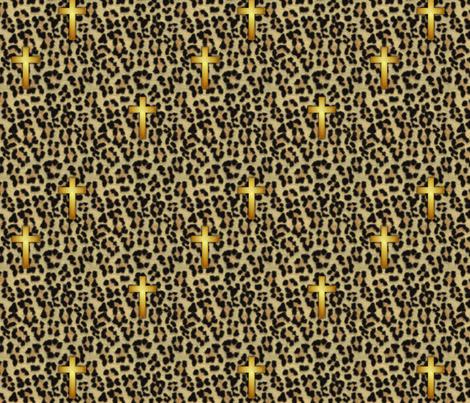 leopard_cross  fabric by glimmericks on Spoonflower - custom fabric