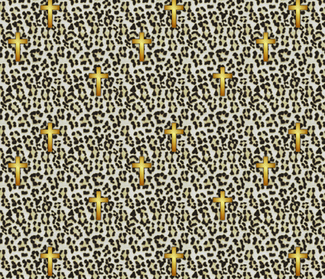 leopard_cross_white snow leopard fabric by glimmericks on Spoonflower - custom fabric