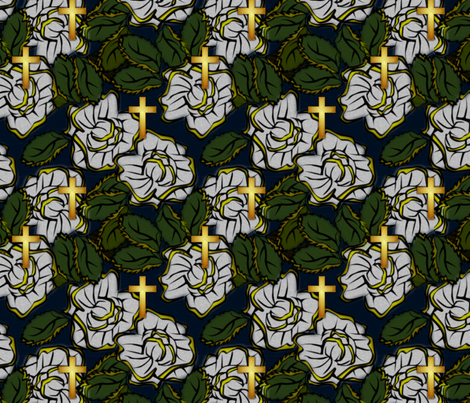 cross_gold_50s_floral_memphis_tender_mercies fabric by glimmericks on Spoonflower - custom fabric