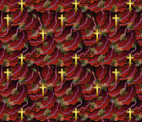 cross_gold_ocean_flowers_red fabric by glimmericks on Spoonflower - custom fabric