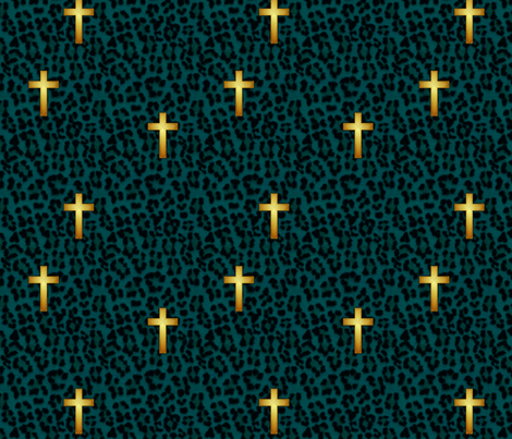 leopard_cross_teal fabric by glimmericks on Spoonflower - custom fabric