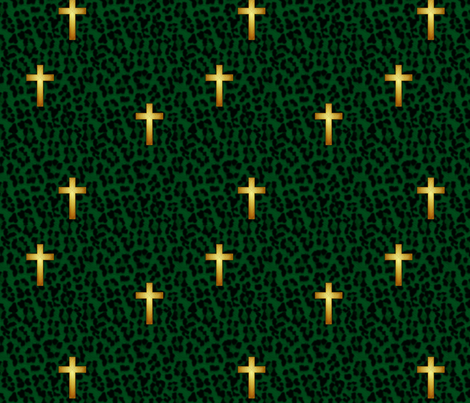 leopard_cross_emerald fabric by glimmericks on Spoonflower - custom fabric