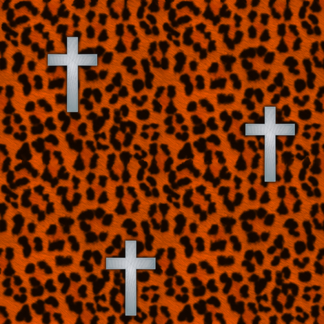 leopard_cross_tangerine_silver fabric by glimmericks on Spoonflower - custom fabric