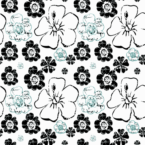 French Script flowers Spoonflower Blue black 0-ch-ch-ch