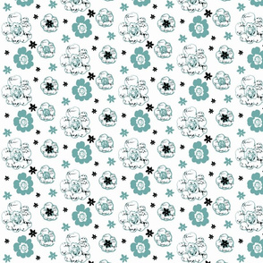 French script floral in Black, White and Spoonflower blue-ch