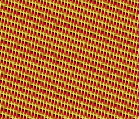 gold_cross_weave_on_red fabric by glimmericks on Spoonflower - custom fabric