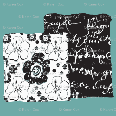 French script boxes of flowers and script, Spoonflower blue