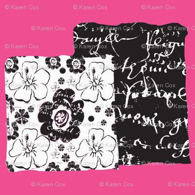 French script boxes of flowers and script, shocking pink