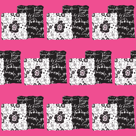 French script boxes of flowers and script, shocking pink fabric by karenharveycox on Spoonflower - custom fabric
