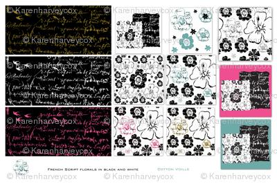 French script floral cotton voille sampler