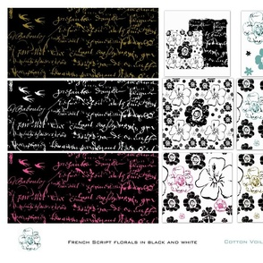 French script floral cotton voille sampler