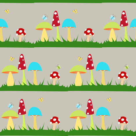 Colorful Mushrooms on Grey fabric by beccanom on Spoonflower - custom fabric