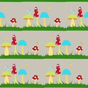 Colorful Mushrooms on Grey