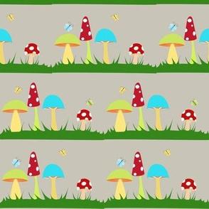 Colorful Mushrooms on Grey