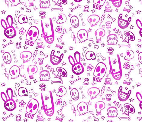 FunSkulls Purple fabric by lauralvarez on Spoonflower - custom fabric