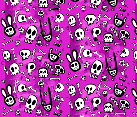 FunSkulls Purple Background fabric by lauralvarez on Spoonflower - custom fabric