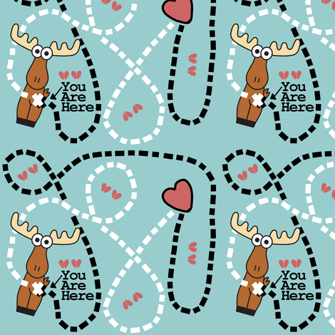 Moose Tracks Map fabric by kel_marie_n on Spoonflower - custom fabric