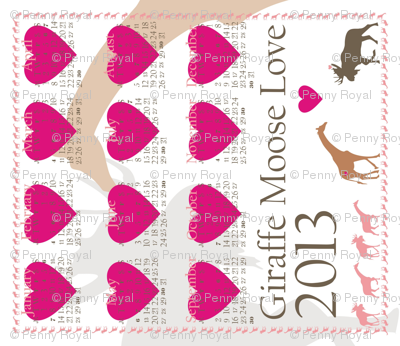 Giraffe Moose Love 2013 Calendar Tea Towel