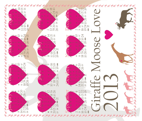 Giraffe Moose Love 2013 Calendar Tea Towel fabric by smuk on Spoonflower - custom fabric
