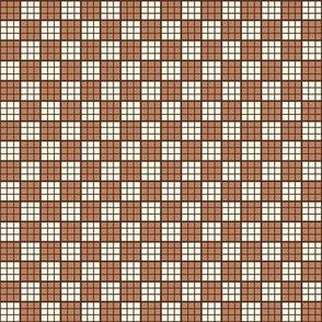 rust, brown, cream plaid print-ed