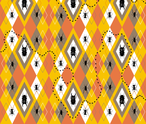 Beetle Argyle Halloween fabric by smuk on Spoonflower - custom fabric