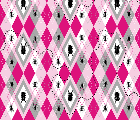 Beetles Argyle Candy fabric by smuk on Spoonflower - custom fabric