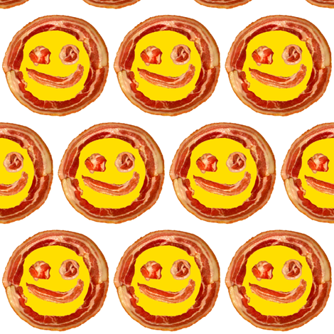 bacon smiley / white fabric by paragonstudios on Spoonflower - custom fabric