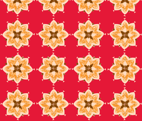 khaki pointy flower red