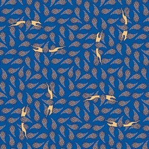 Greyhound Silhouette Paisley tan blue  © 2012 by Jane Walker