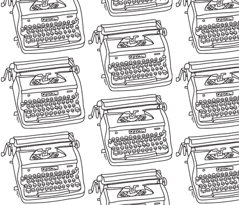 Royal Typewriter (black & white) fabric by pattyryboltdesigns on Spoonflower - custom fabric