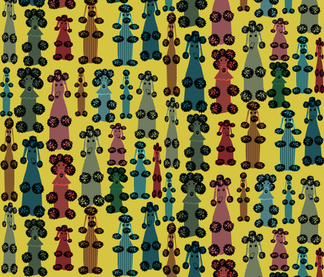 poodles on yellow fabric by heidikenney on Spoonflower - custom fabric