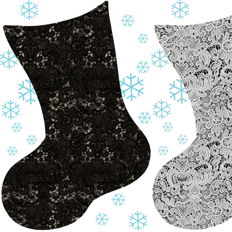 Christmas Stocking Black and Grey Lace with Blue Snowflakes fabric by bohobear on Spoonflower - custom fabric