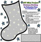 Christmas Stocking DIY Project Grey Stars