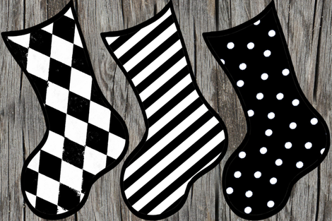 Black and white Christmas Stocking Holiday DIY Cut & Sew Project fabric by bohobear on Spoonflower - custom fabric