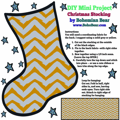 Christmas Stocking DIY Project Yellow and Grey Chevron fabric by bohobear on Spoonflower - custom fabric